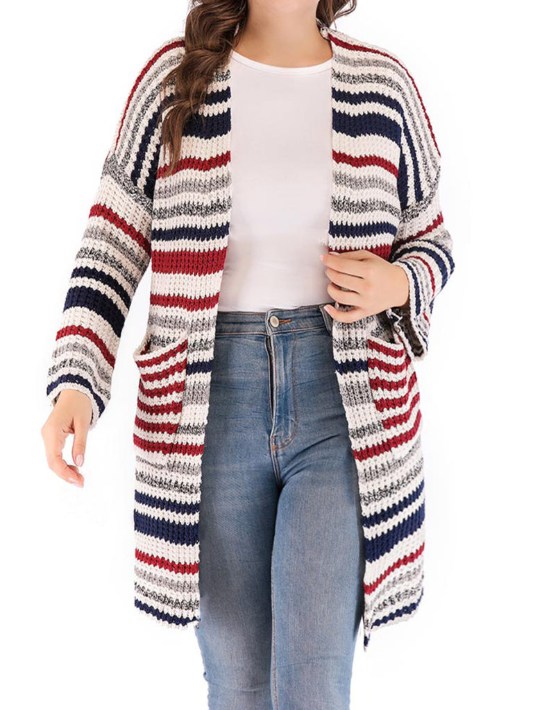 Patchwork Elegant Striped Long Sleeve Knit Cardigan