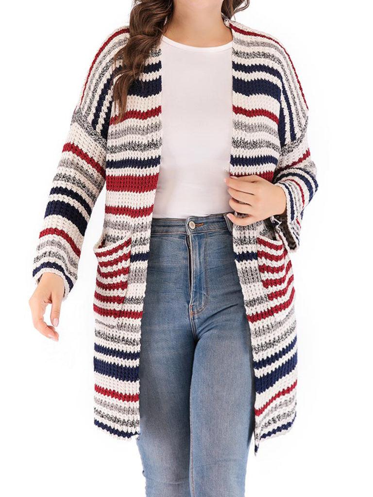 Patchwork Elegant Striped Long Sleeve Knit Cardigan
