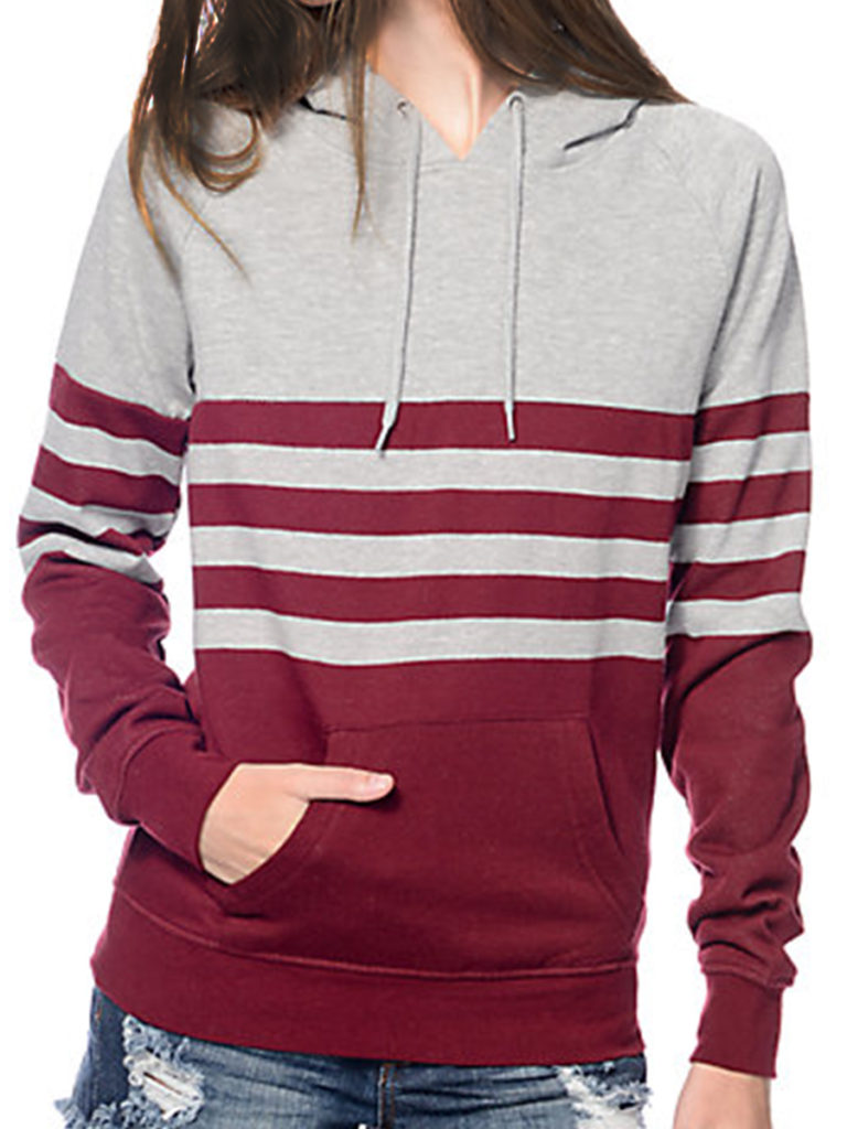Casual Contrast Piping Colouring Raglan Sleeve Long Sleeve Hoodie