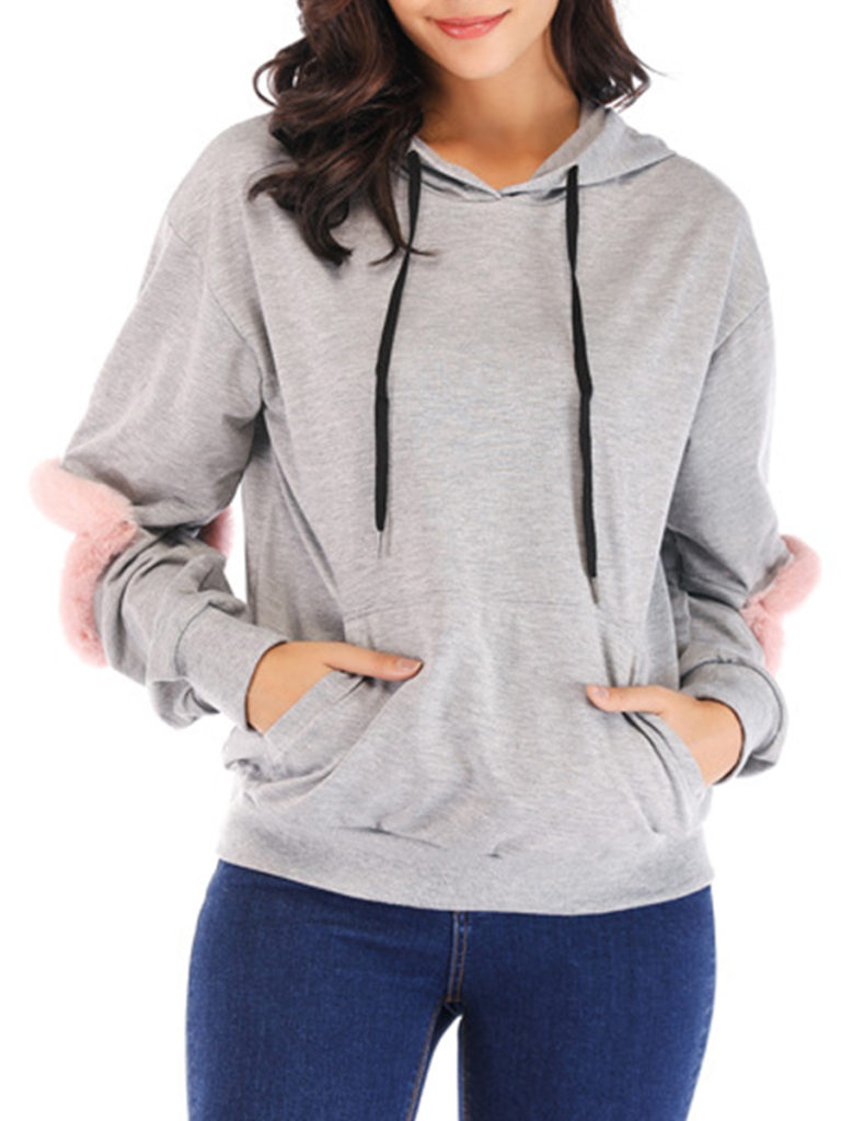 Casual Plain Shoulder Sleeve Long Sleeve Hoodie