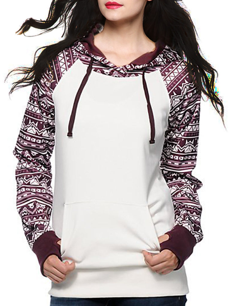 Casual Colouring Long Sleeve Hoodies & Sweatshirts