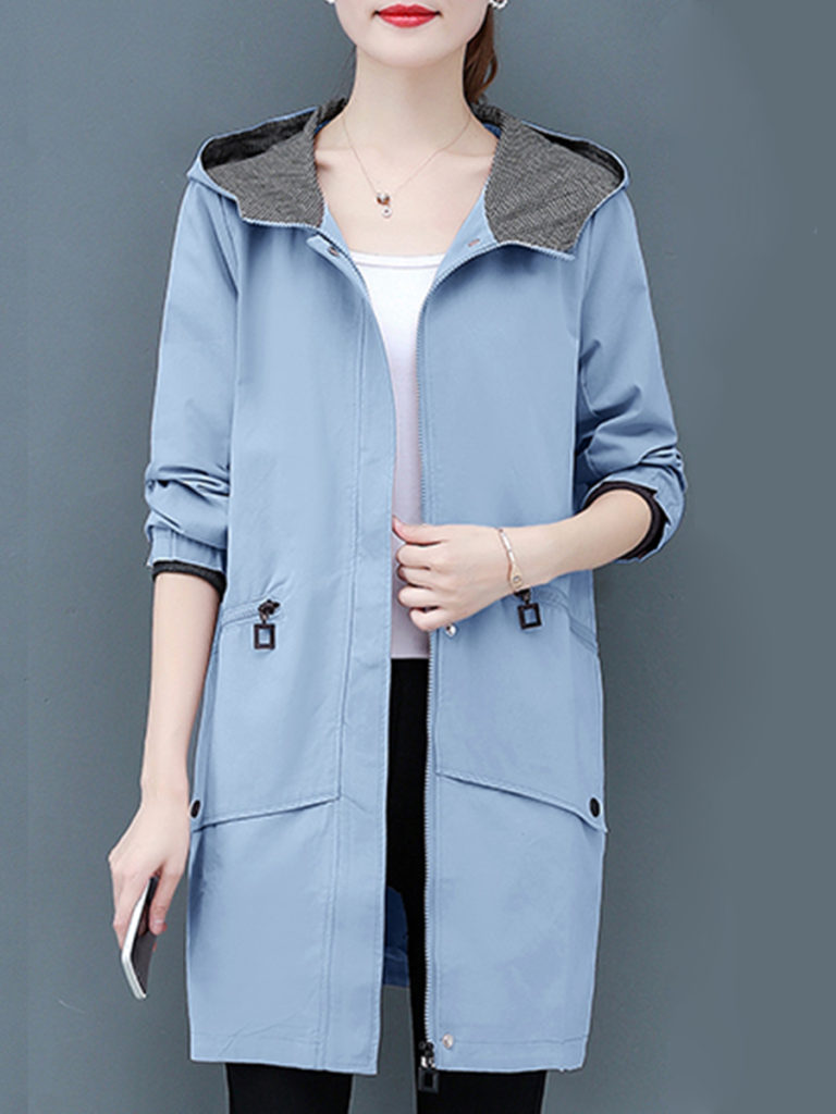 Hooded Colouring Plain Trench Coat