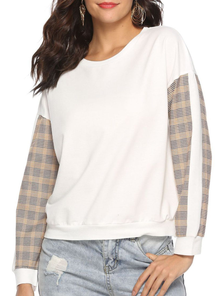 Casual Plaid Shoulder Sleeve Long Sleeve Sweatshirt