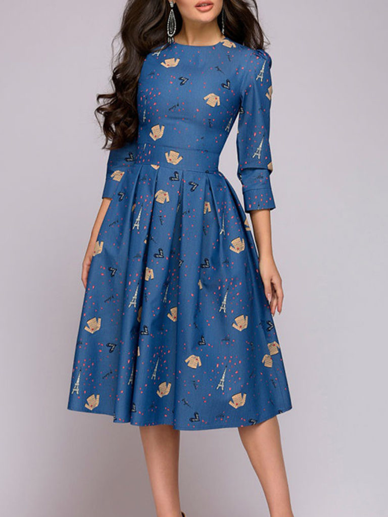 Round Neck Patch Pocket Printed Skater Dress
