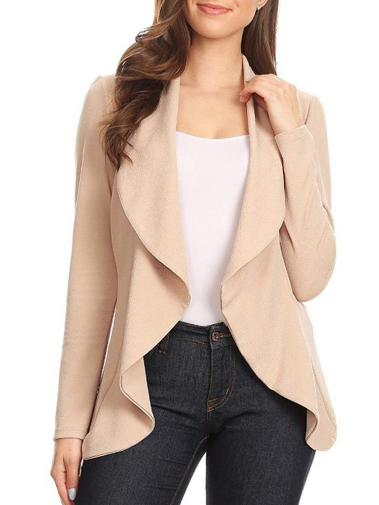 Fold-Over Collar Plain Blazers