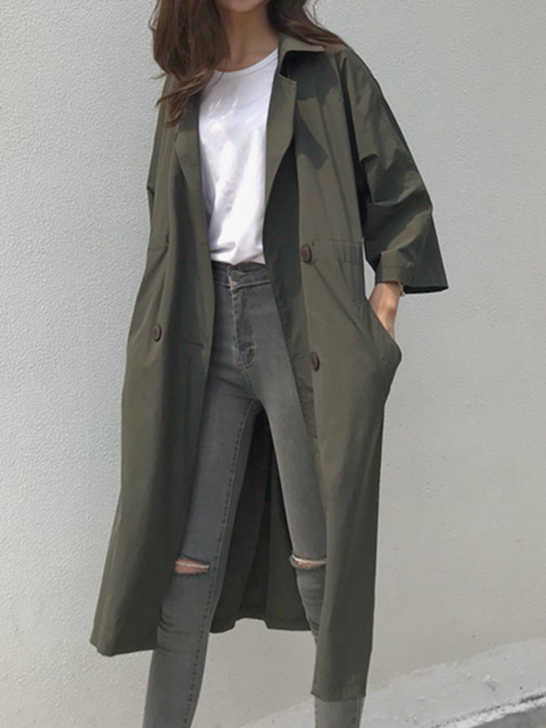Notch Lapel Drawstring Plain Trench Coat
