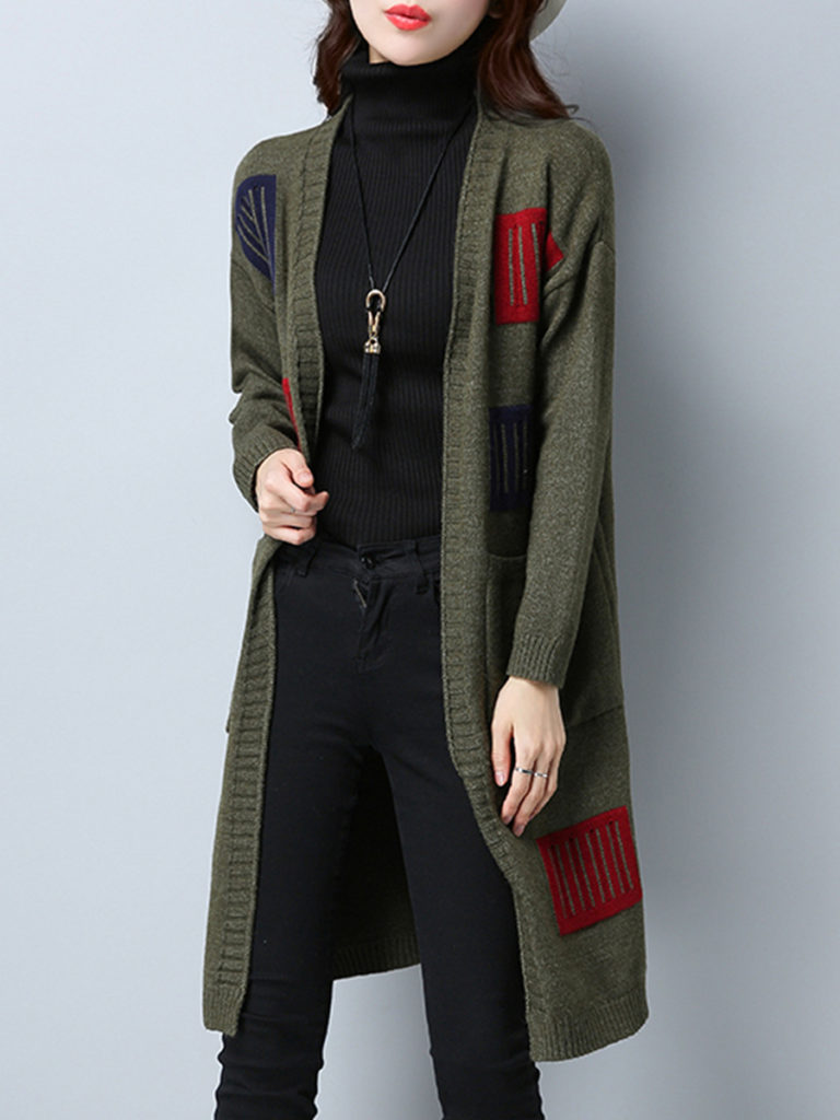 Patchwork Long Elegant Color Block Long Sleeve Knit Cardigan