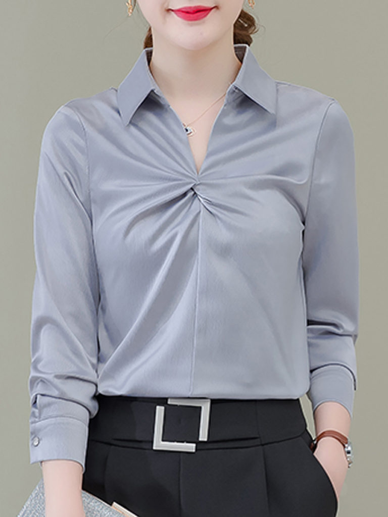 Lapel Patchwork Brief Plain Long Sleeve Blouse
