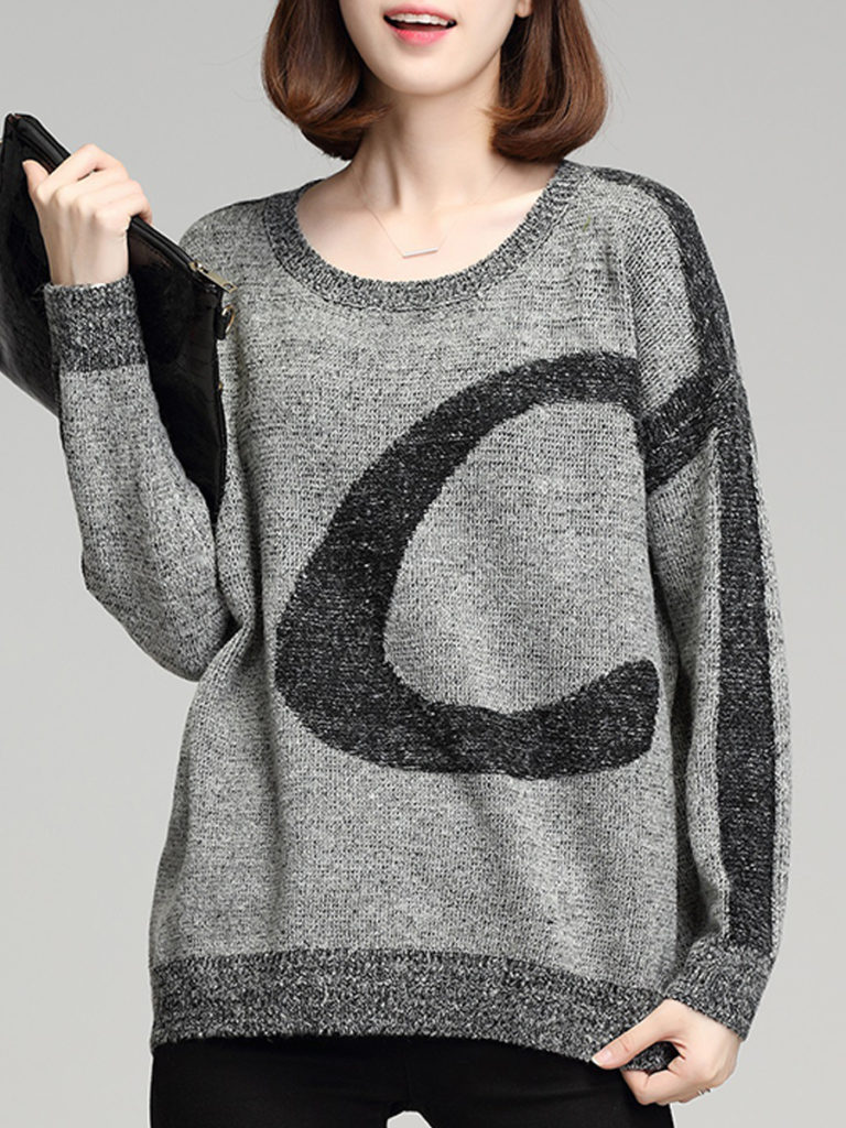 Round Neck Patchwork Casual Batwing Sleeve Long Sleeve Knit Pullover