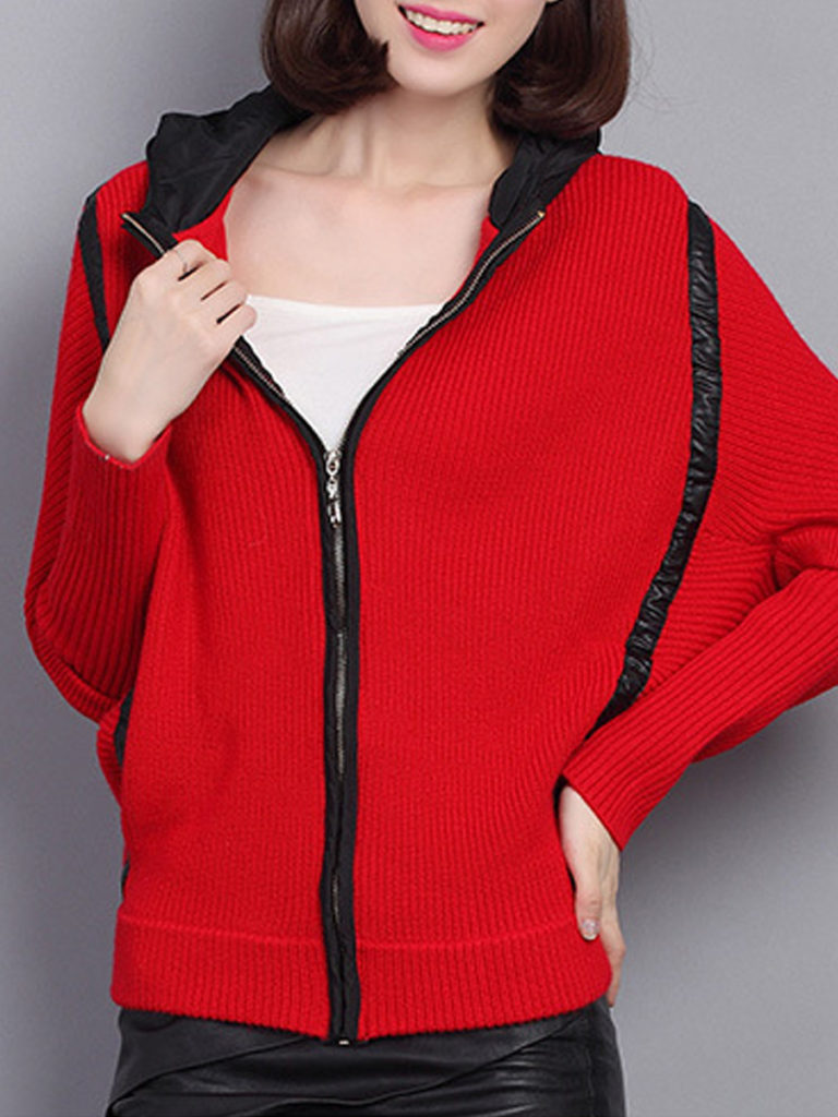 Hat Collar Zips Patchwork Casual Batwing Sleeve Long Sleeve Knit Cardigan