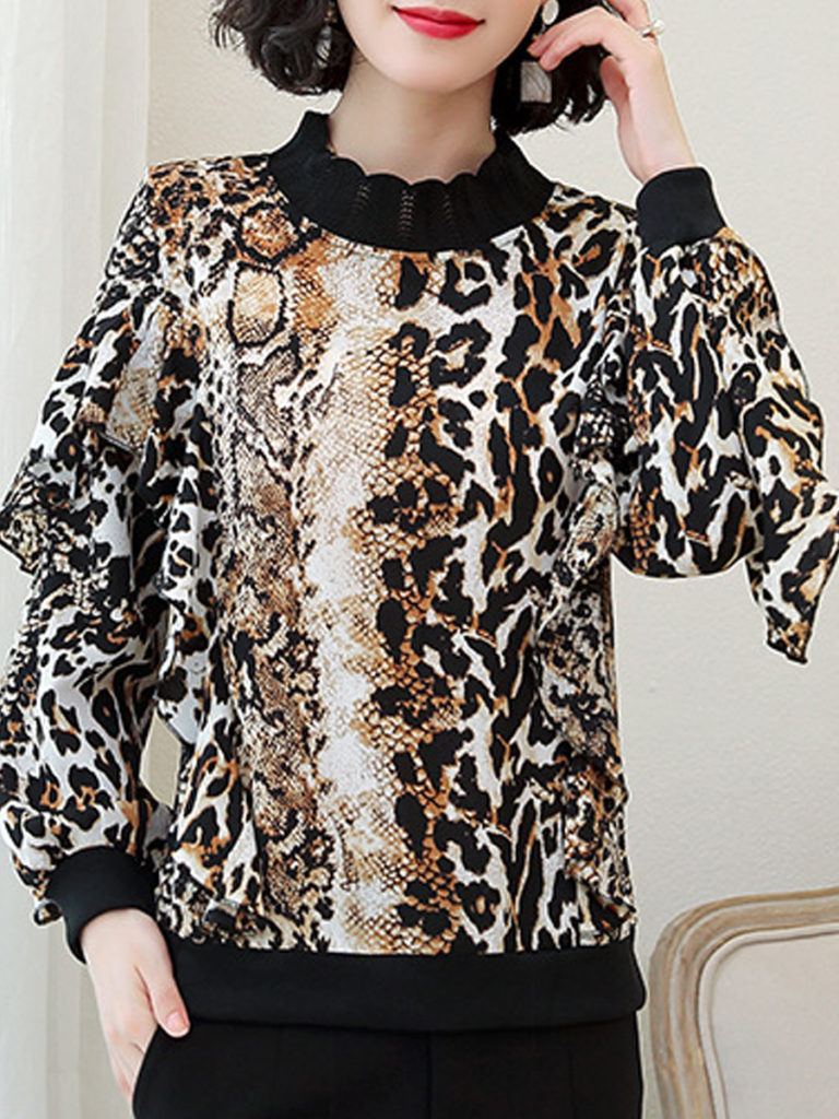 Short High Collar Patchwork Casual Leopard Long Sleeve Blouse