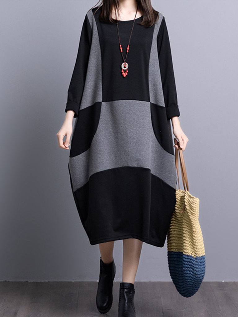 Round Neck Color Block Bell Sleeve Bodycon Dress