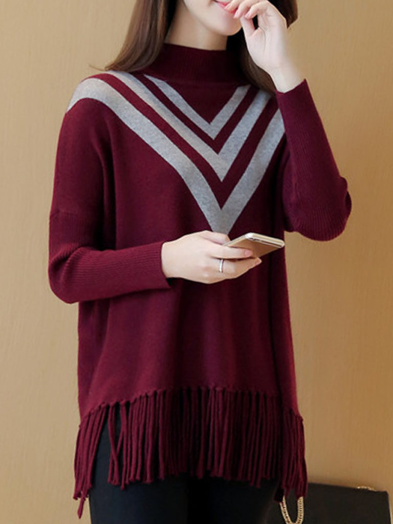 Short High Collar Elegant Geometric Batwing Sleeve Long Sleeve Knit Pullover