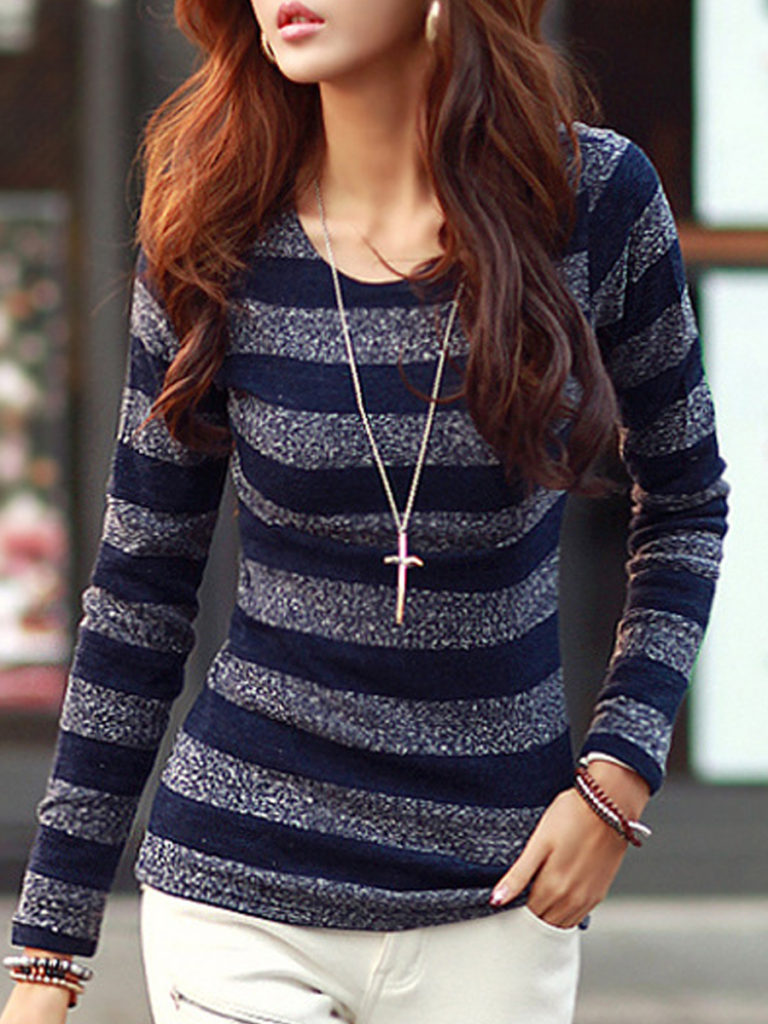 Round Neck Casual Striped Long Sleeve T-Shirt
