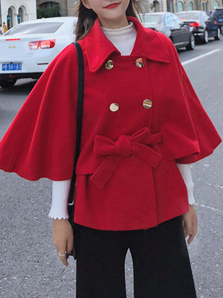 Fold-Over Collar Plain Cape Sleeve Coat