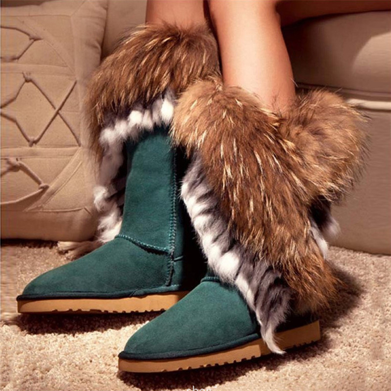 Snow boots fox fur women's boots