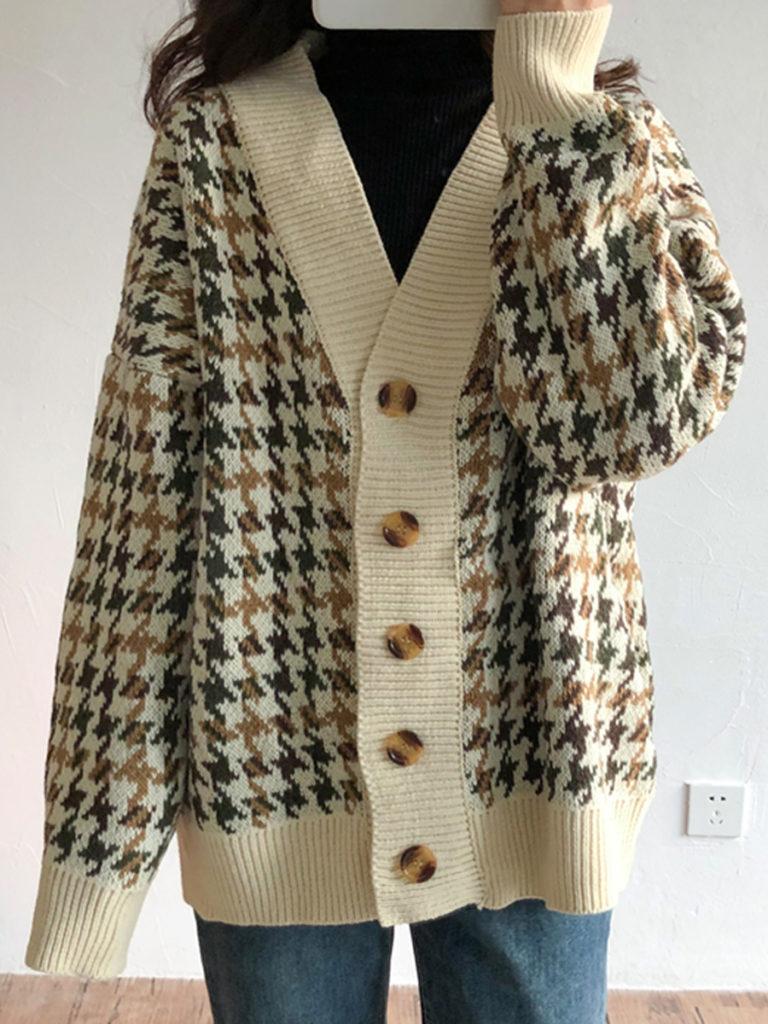 V Neck Casual Plaid Long Sleeve Knit Cardigan