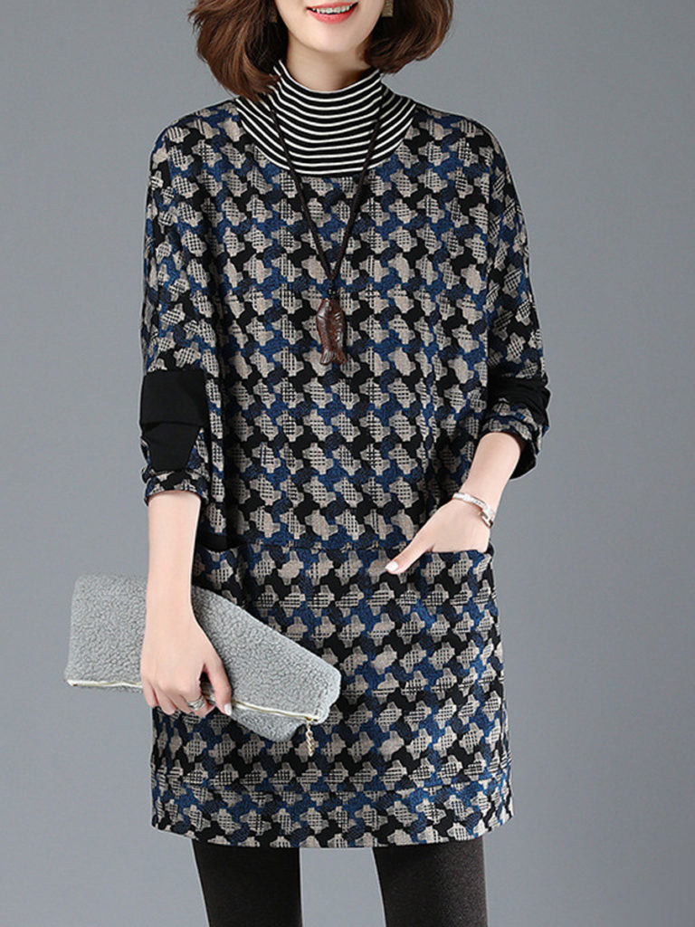 High Neck Patch Pocket Plaid Shift Dress