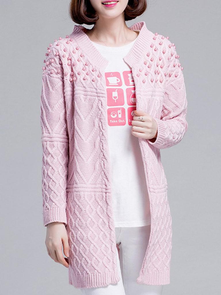 Elegant Plain Long Sleeve Knit Cardigan