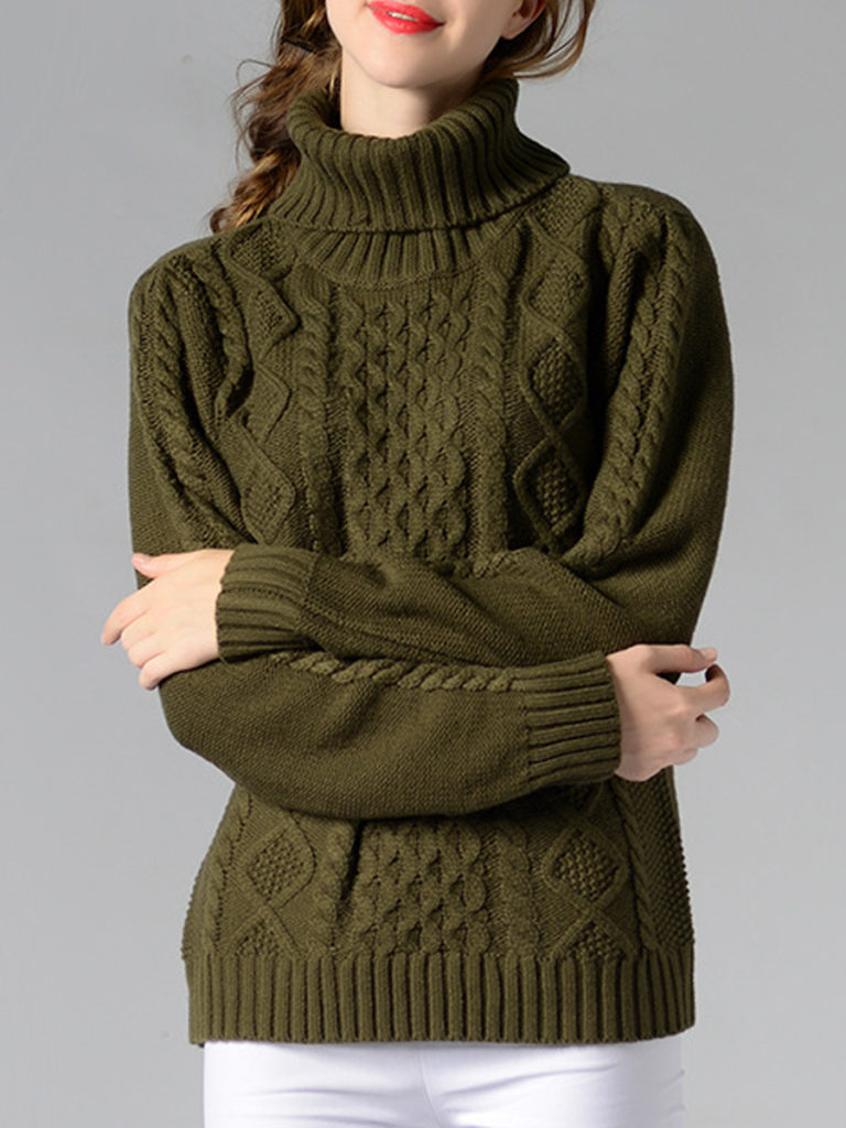 Heap Collar Elegant Plain Long Sleeve Knit Pullover