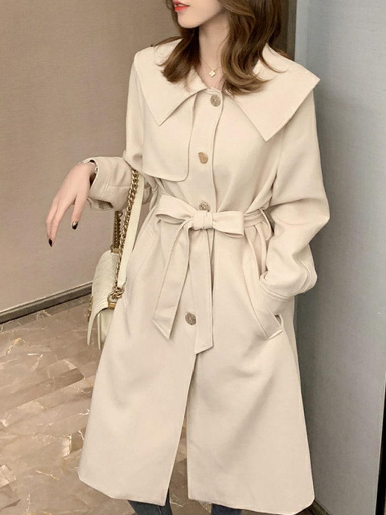 Fold-Over Collar Belt Trench Coat