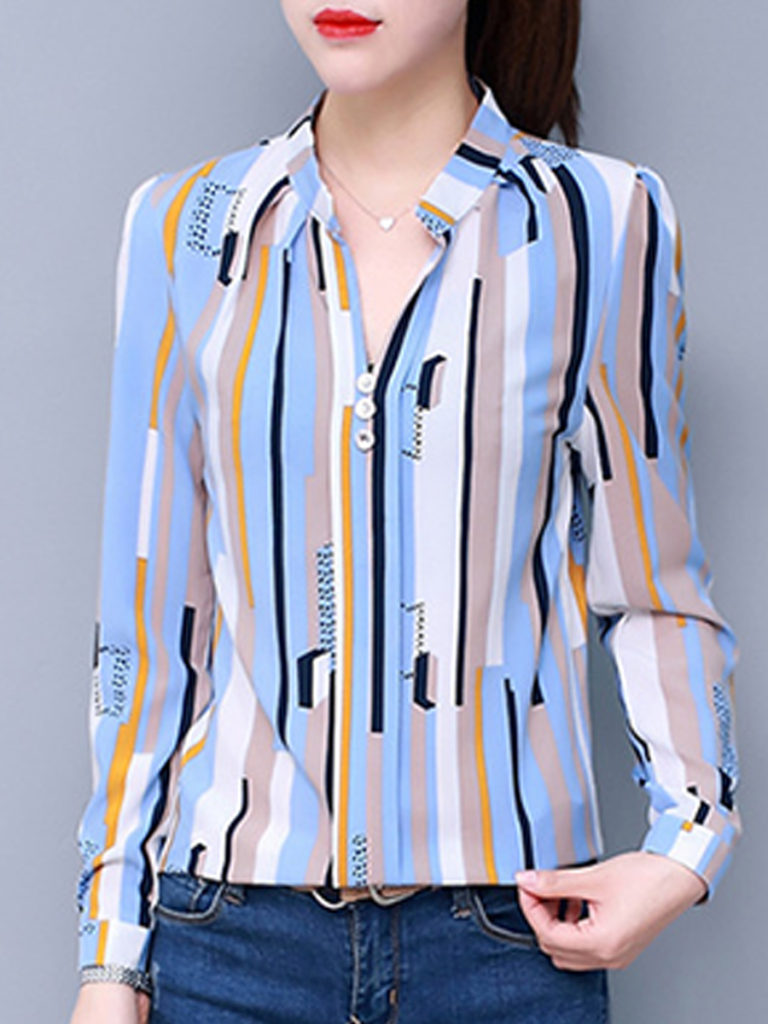 V Neck Loose Fitting Stripes Blouse