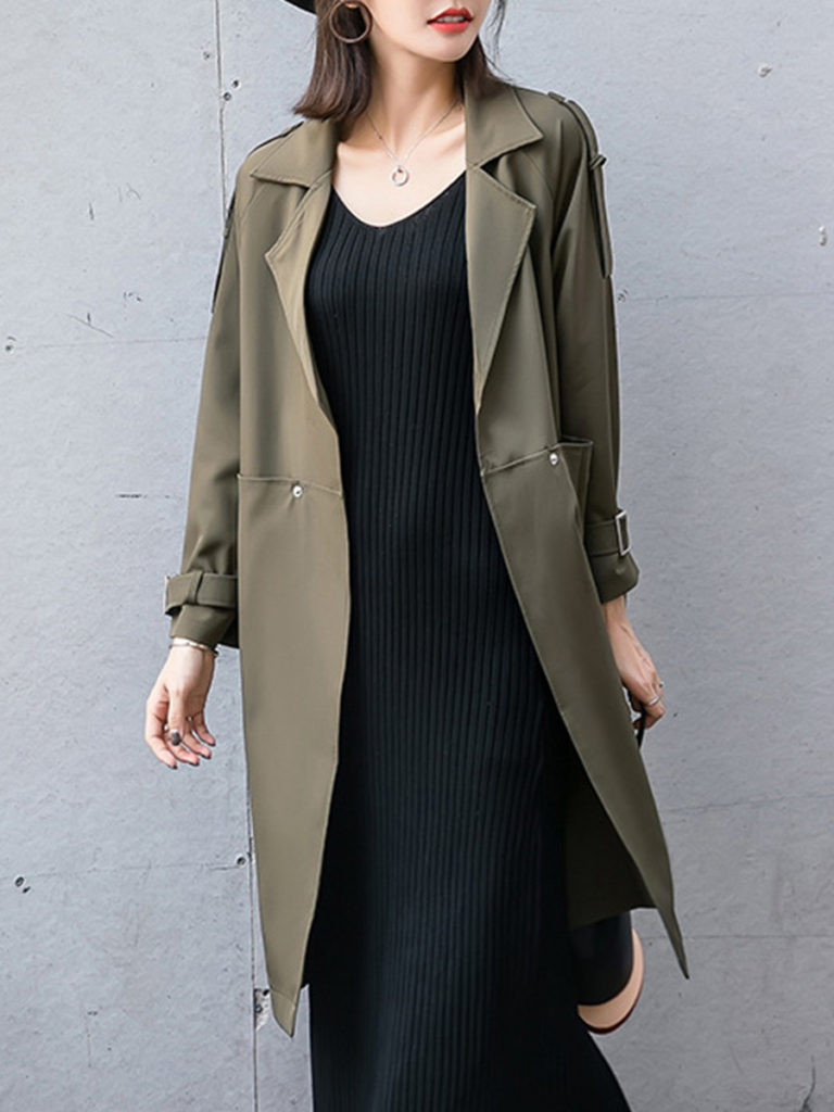 Mid-length long trench coatMid-length long trench coat