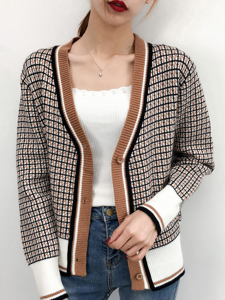 Casual V Neck Plaid Long Sleeve Single-breasted Knit Cardigan