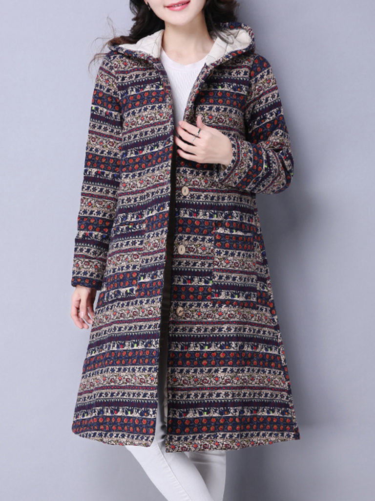 Women's Fashion National Style Printed Long Coat