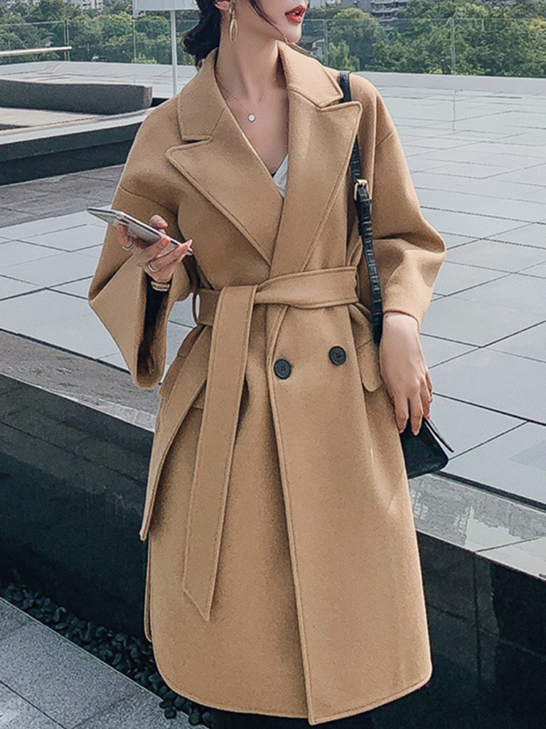 Fashion British Style Waist Solid Color Coat