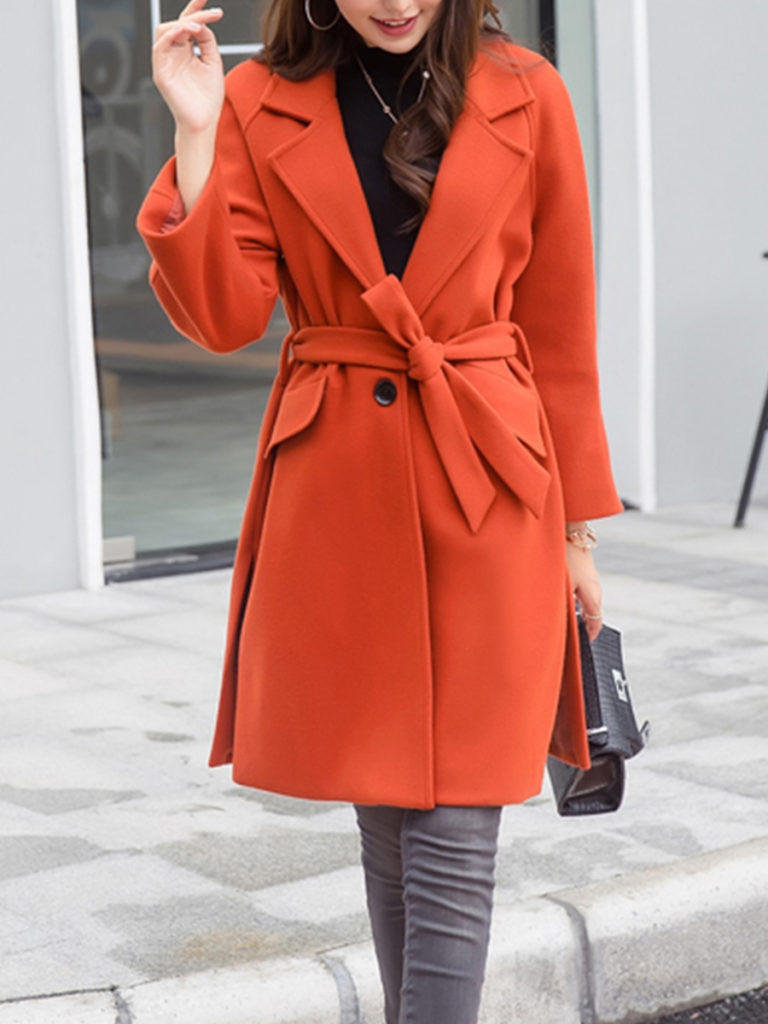 Women's Slim-fit with a woolen coat