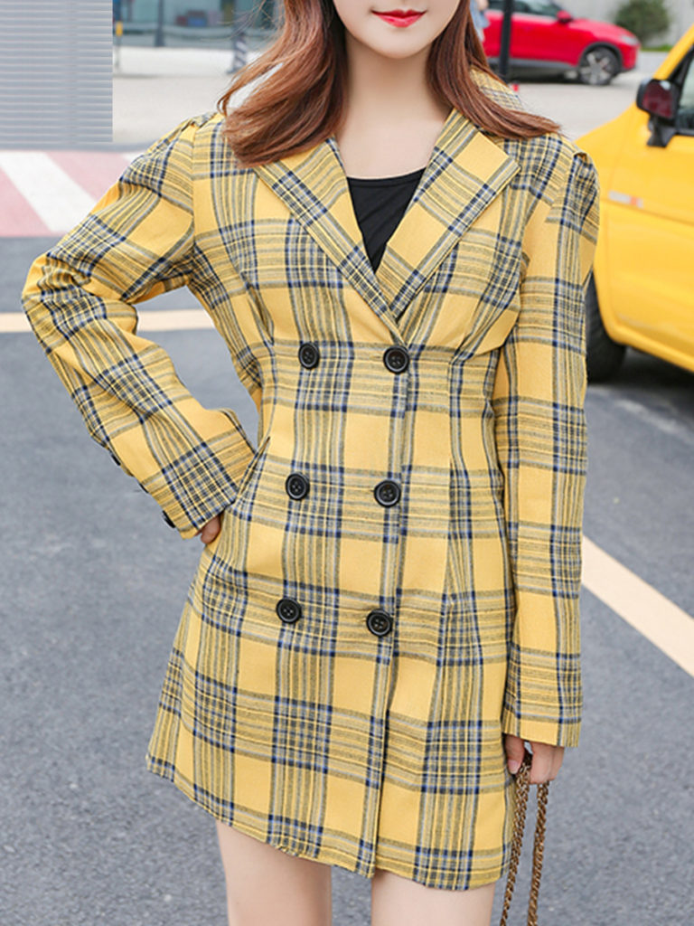 Temperament waist slim double-breasted plaid Blazer
