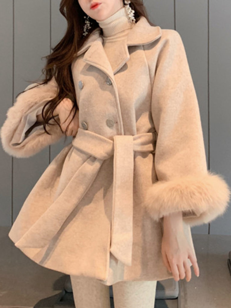 Ladies Fashion Warm Solid Color Waist Plush Coat