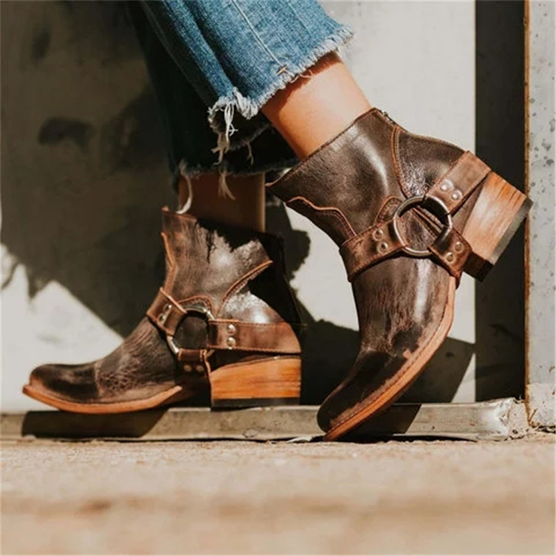 Retro Belt Buckle Heel Booties