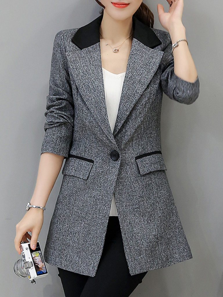 Fashion womens lapel long sleeve spell color blazer