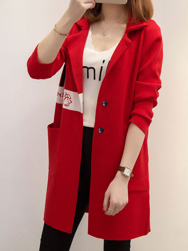 Turndown Collar Letter Printed Long Sleeve Loose Coat