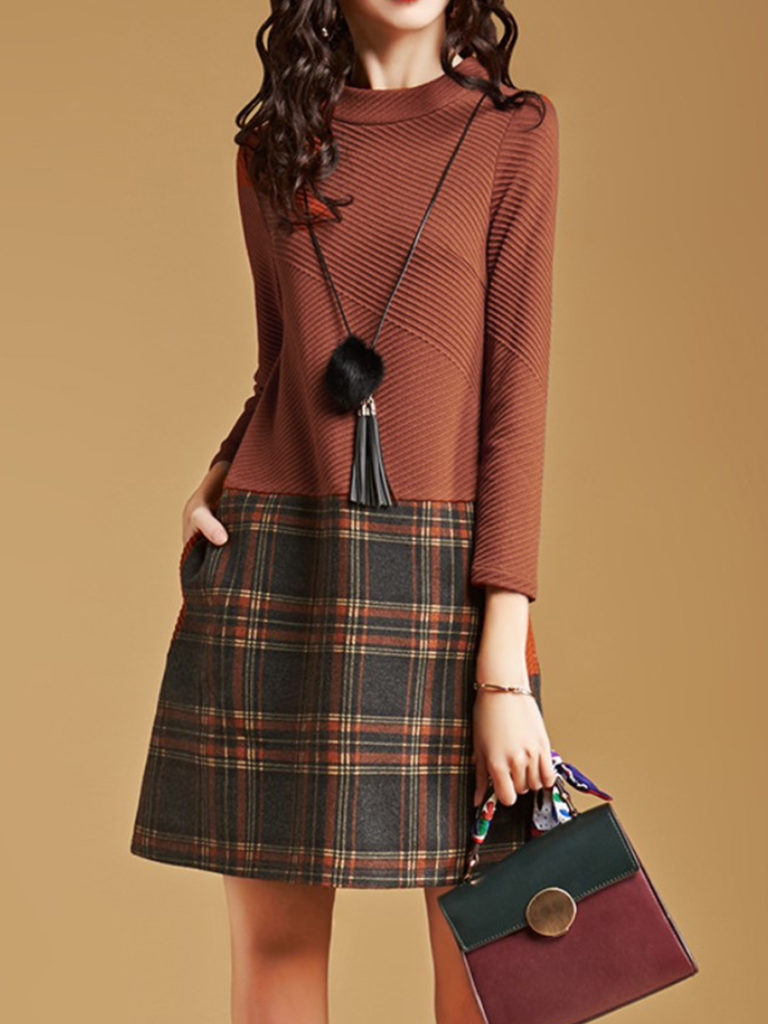 Round Neck Patch Pocket Plaid Shift Dress