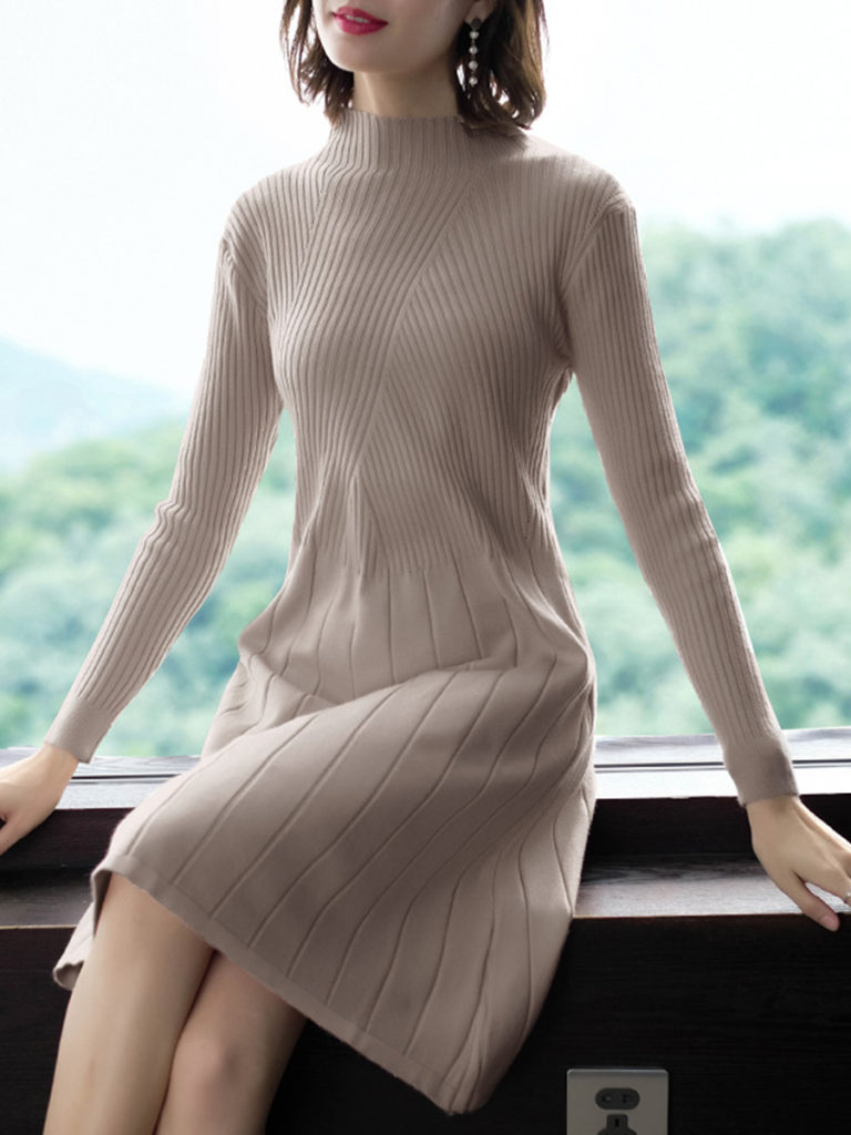 Women's Fashion Solid Knit Dress