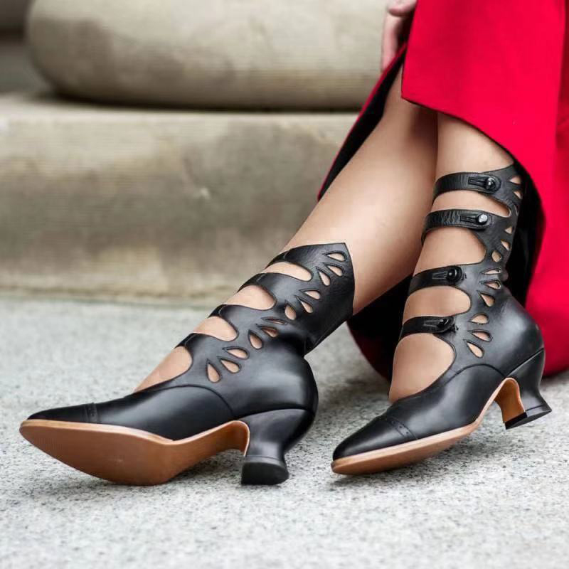 Cutout toe heeled Roman sandals