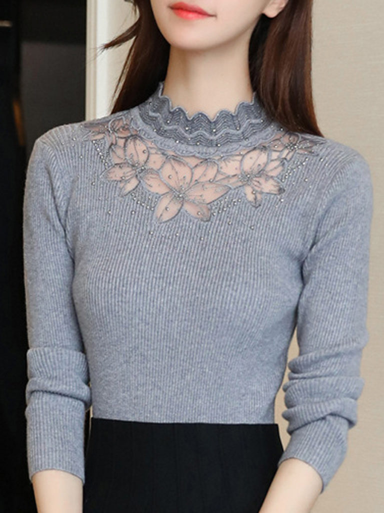 Short High Collar Elegant Lace Long Sleeve Knit Pullover