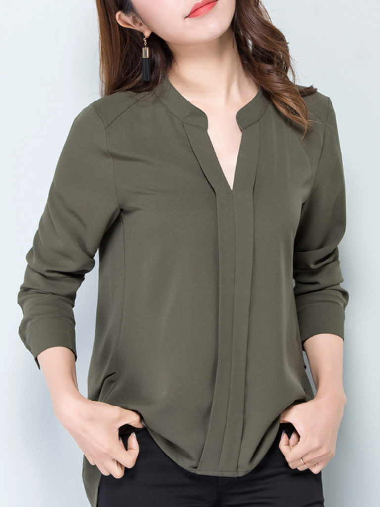 V Neck Casual Long Sleeve Blouse