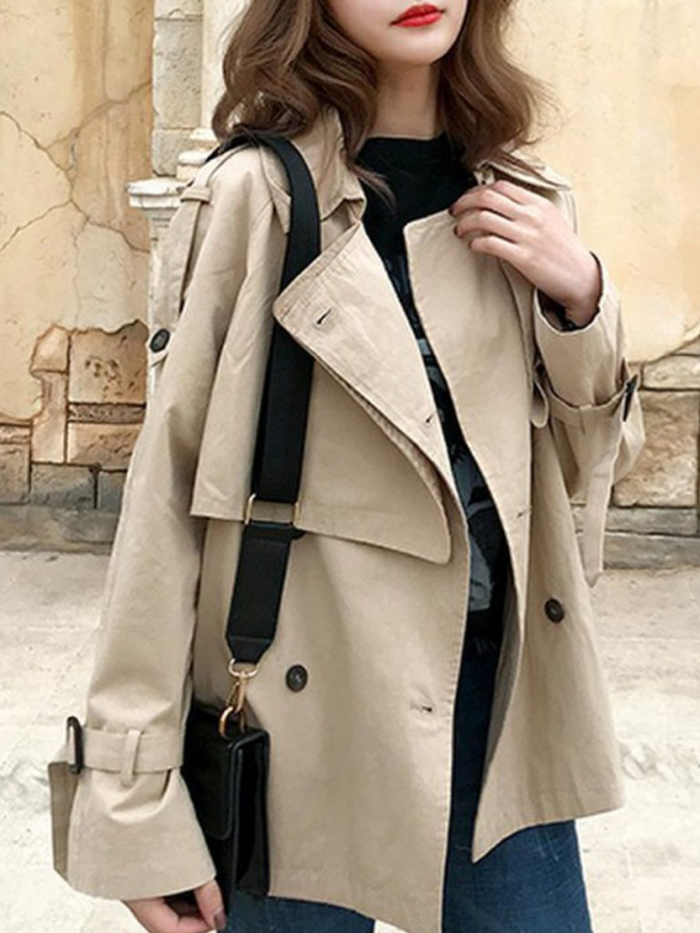 Fashion solid color lapel double-breasted loose trench coat