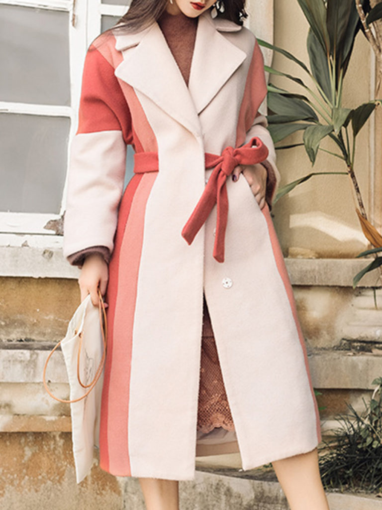 Vintage Women Color Matching Mid Length Overcoat