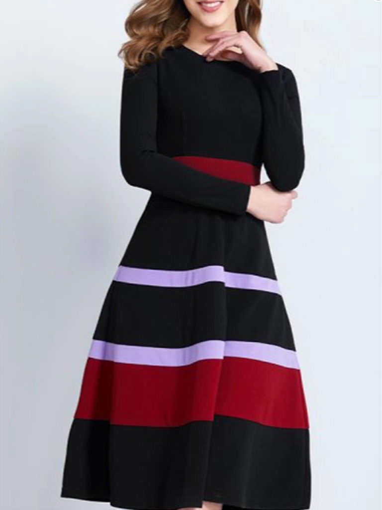 Casual Round Neck Patchwork Dress