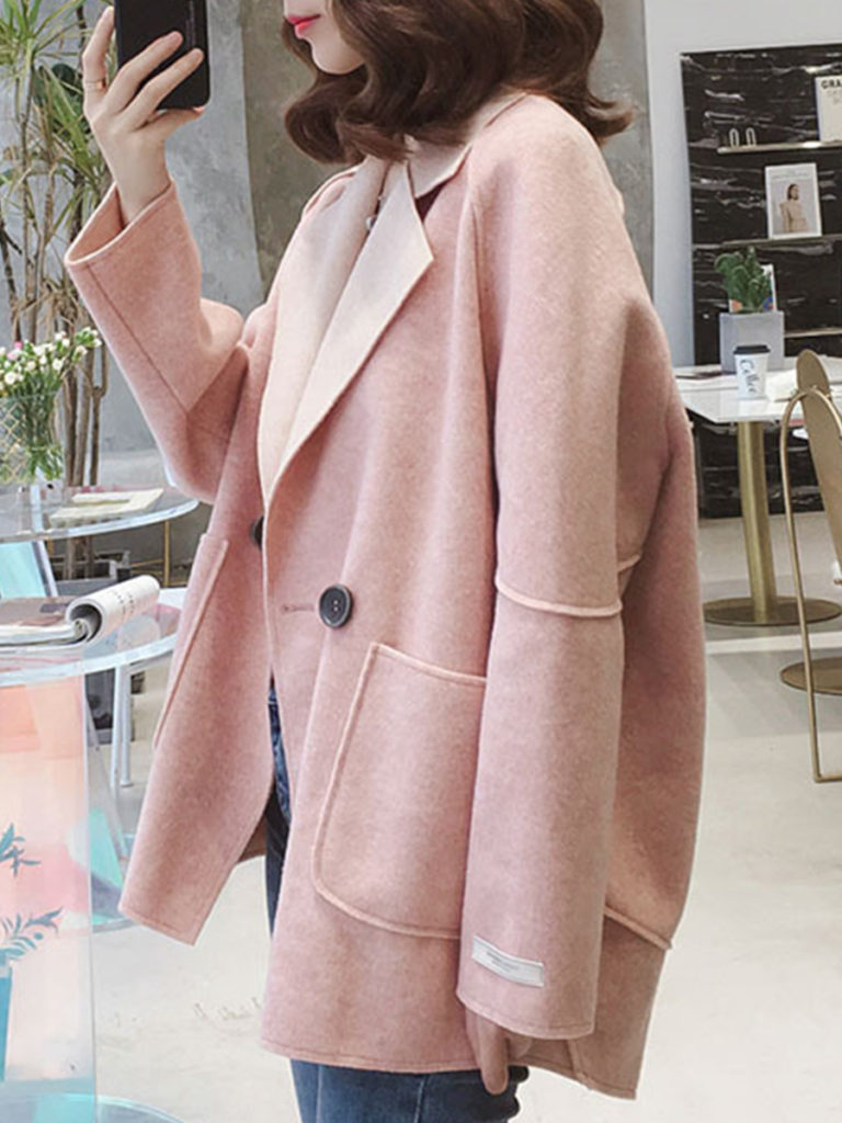 Simple Long Sleeve Fold Over Collar Pocket Overcoat