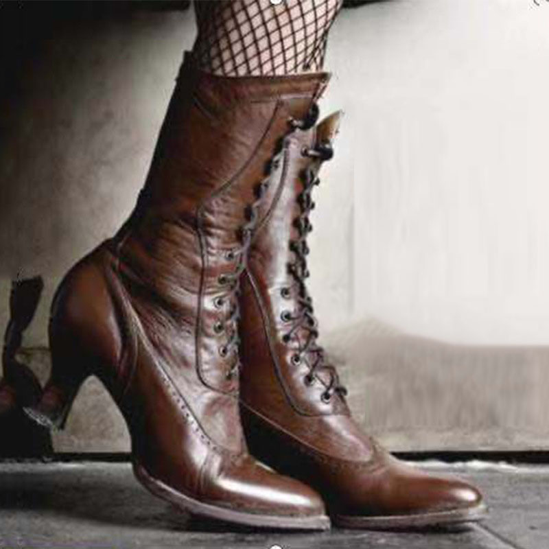 Women's Fashion Solid Color Pointed Lace Up Boots