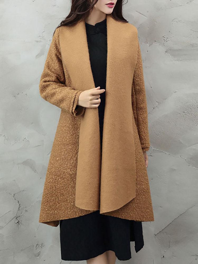 Vintage literary loose woolen coat