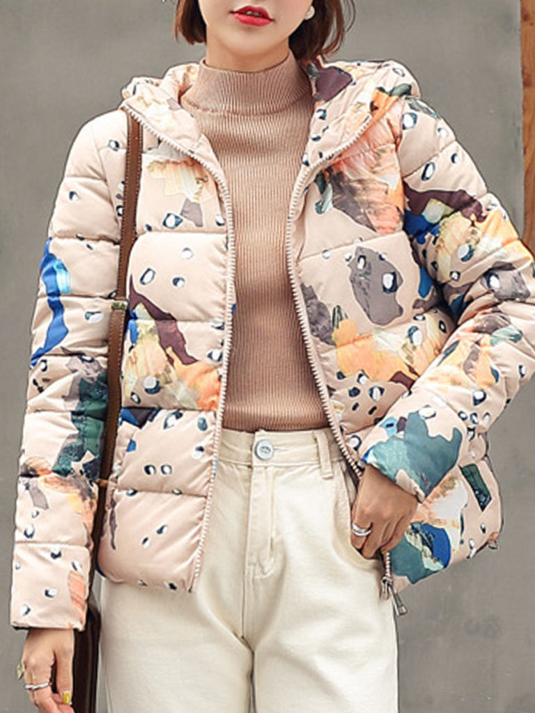 Casual Printed Hooded Long Sleeve Cotton Coat