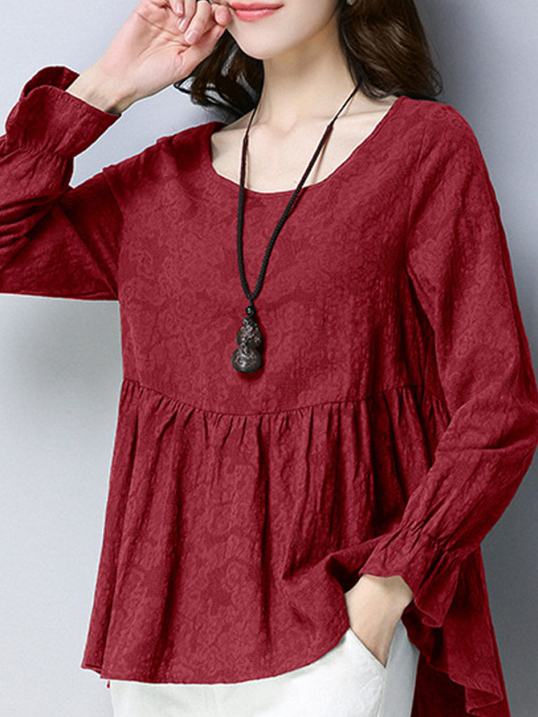 Round Neck Cute Printed Long Sleeve Linen T-Shirt