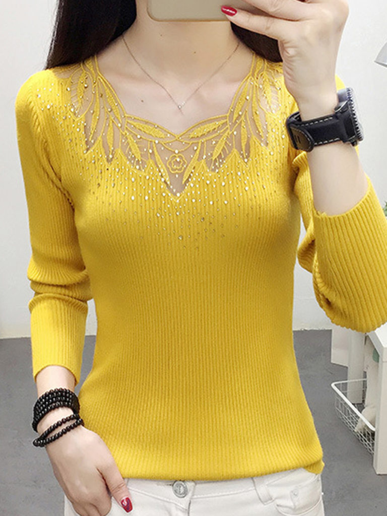 Round Neck Patchwork Lace Long Sleeve Knit Pullover